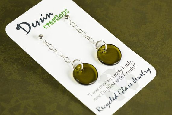 Little drop earrings swinging on a delicate chain.  The glass is kiln fired and is from a recycled wine bottle. Eco-Fashionista!