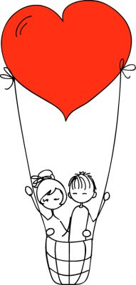 boy and girl on heart shaped hot air balloon