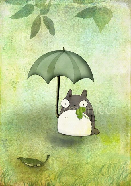totoro print by munieca on etsy- i own this!!! love it- her work is so joyous and whimsical :)