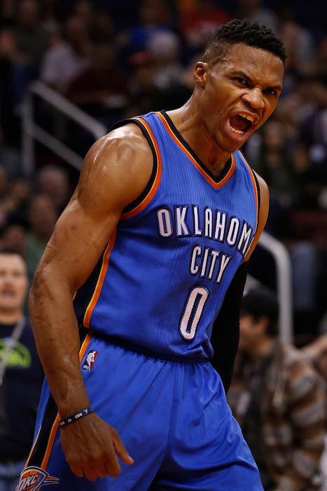 Russell Westbrook's reaction after he dunked against Phoenix Suns on February 8, 2016 in Phoenix, Arizona...