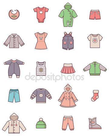 Pobieraj - Zestaw ikon ubrania dla dzieci — Ilustracja stockowa #58351035