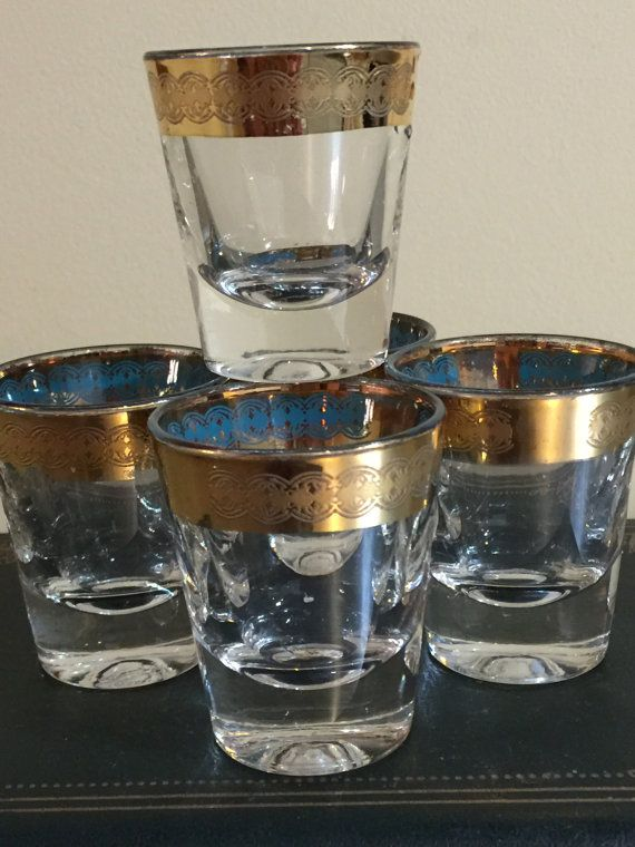 Mid Century Shot Glasses  Gold and Aqua  Set by PineStreetPickers