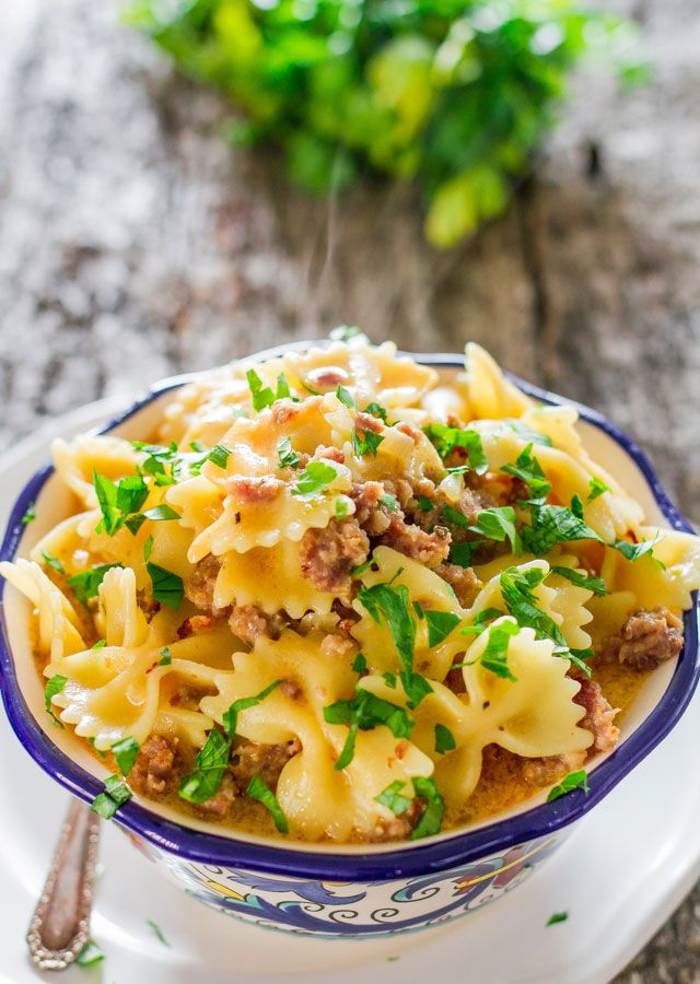 Pumpkin Sausage Bowtie Pasta - a delicious and creamy sauce with sausage and pumpkin. A perfect fall meal, not only delicious but ready in 30 minutes.