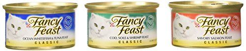 awesome Fancy Feast Gourmet Cat Food, 3-Flavor Seafood Variety Pack, 3-Ounce Cans (Pack of 24)