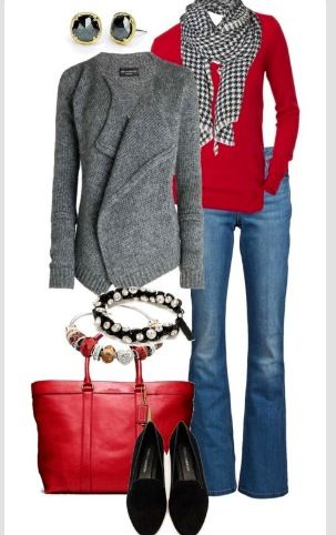 Love the red pop of color! Jean skirt instead of jeans