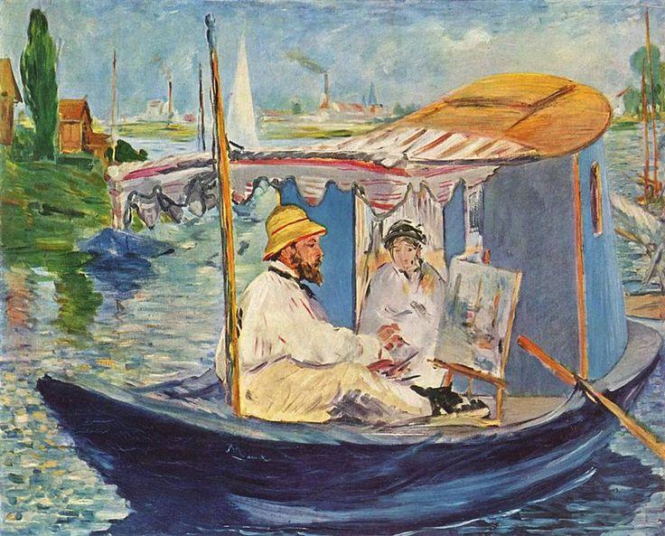 Édouard Manet, Monet che dipinge sulla sua barca, 1874. Olio su tela, 80×98 cm. Neue Pinakothek, Monaco di Baviera