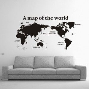 World Map with Continent Words Mural Wall Sticker