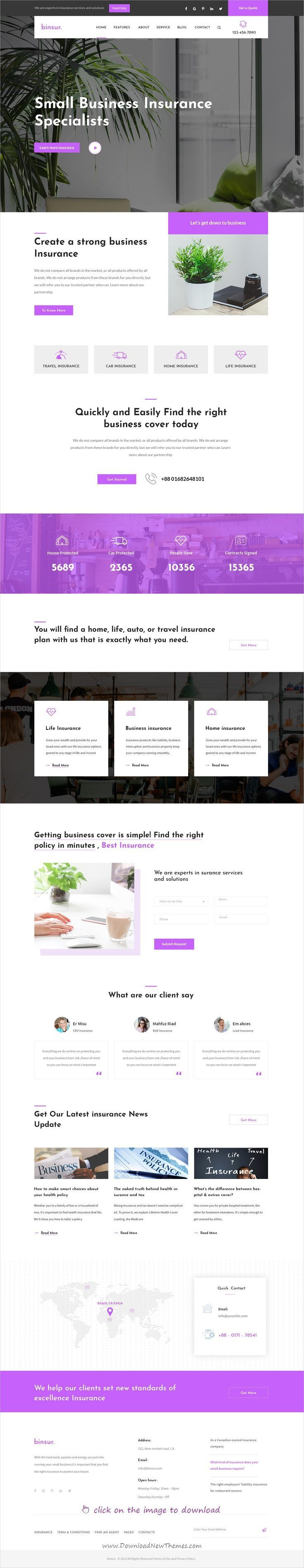 Binsure is clean and modern design PSD template for #insurance agency and #business website with 18+ layered PSD pages to live preview & download click on the image.