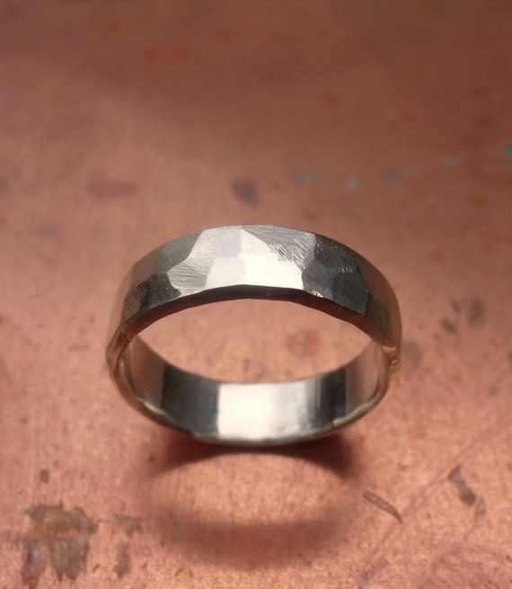 Sterling silver hammered male wedding band by NaturalJewellery