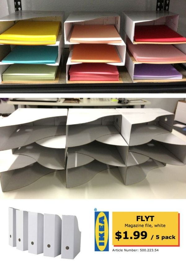 {DIY Paper Sorter or classroom mailboxes} from stacked IKEA Cardboard Magazine files. Just tape together with packing or duct tape.  Desk square room