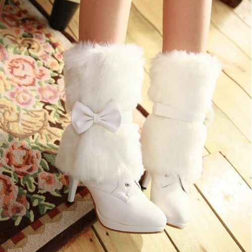 US All Sizes Lady's Ankle Boots Thin High Heel Winter Fur Bow Lace Up Shoes H80   eBay