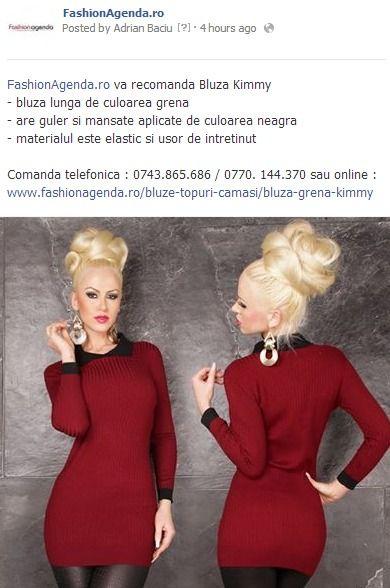 Comanda telefonica : 0743.865.686 / 0770. 144.370 sau online : www.fashionagenda.ro/bluze-topuri-camasi/bluza-grena-kimmy
