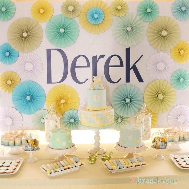 Dessert Tablescape #bragdesigns | A special backdrop for an adorable baby shower.