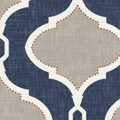 Navy blue and greige wallpaper for laundry room.