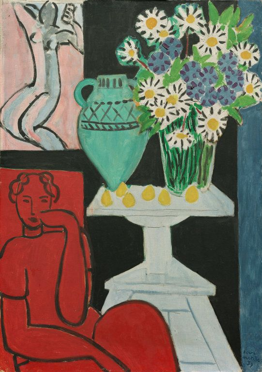 """Henri Matisse French, 1869–1954, Daisies Henri Matisse French, 1869–1954 Daisies, July 16, 1939 Oil on canvas 38 5/8 x 28 1/4 in. (90.5 x 71.5 cm) Signed and dated, l.r.: """"Henri/Matisse/39"""" Gift of Helen Pauling Donnelley in memory of her parents, Mary Fredericka and Edward George Pauling, 1983.206"""