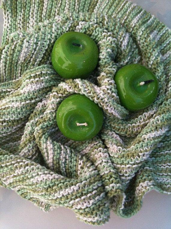 Chunky Handmade Knitting Baby Blanket in Soft green by ArtofBaby, $20.00