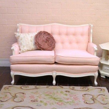 pink linen tufted vintage style sofa thebellacottage pink sofa vintage linen