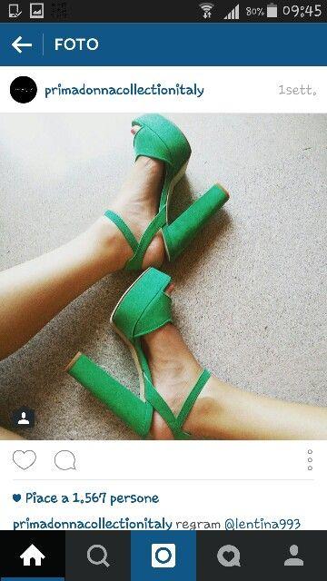Scarpe verdi con tacco e platò #primadonna