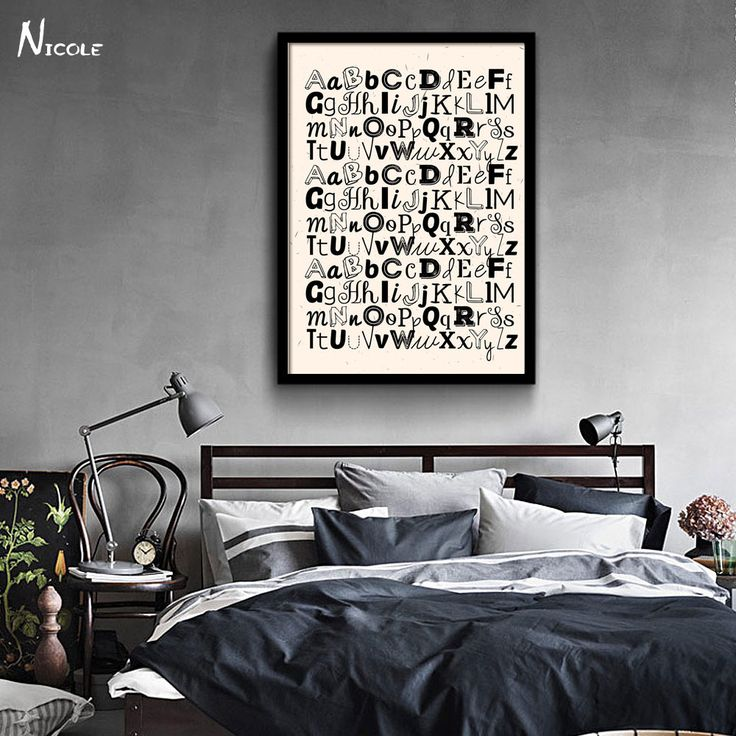 ABC Letter Alphabet Art Canvas Vintage Poster Minimalist Print Black White Picture for Home Kids Room Decor CX084-in Painting & Calligraphy from Home & Garden on Aliexpress.com | Alibaba Group