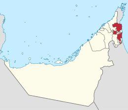 Fujaira – LocalizzazioneFujaira (in arabo: لفجيرة, al-Fujayra) è uno dei sette emirati che compongono gli Emirati Arabi Uniti. In particolare è l'unico che si affaccia solamente sul golfo di Oman e quindi sull'Oceano Indiano.