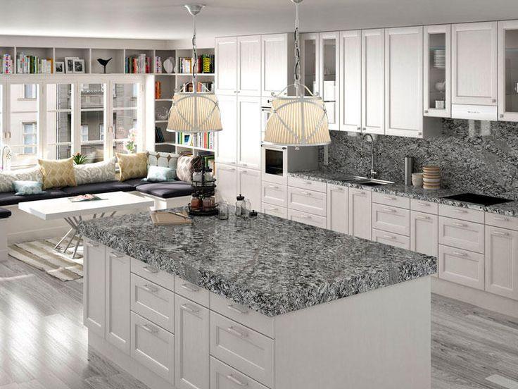 Las 25 mejores ideas sobre encimeras de cocina de granito - Cocinas blancas con granito ...