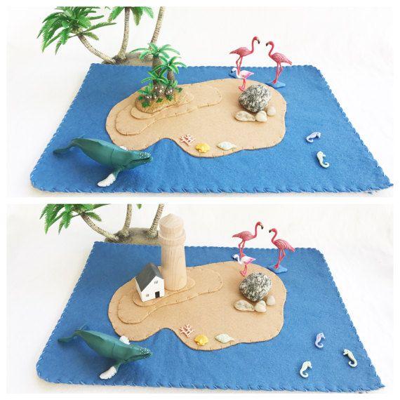 Blue Island Playscape gioca stuoia feltro fantasia narrazione dello storybook fairytale fantasia sirena oceano mare pirata spiaggia finta di giocare