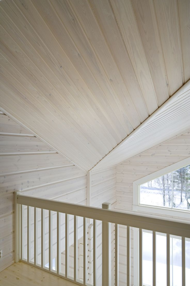 Beatiful, white stained pine. Honka Log Homes.