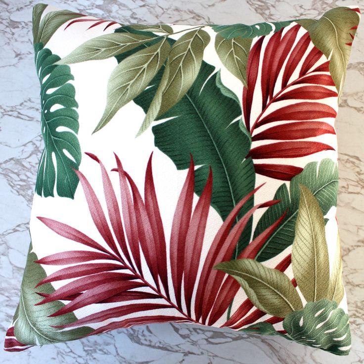 exotic leaf barkcloth cushion covers