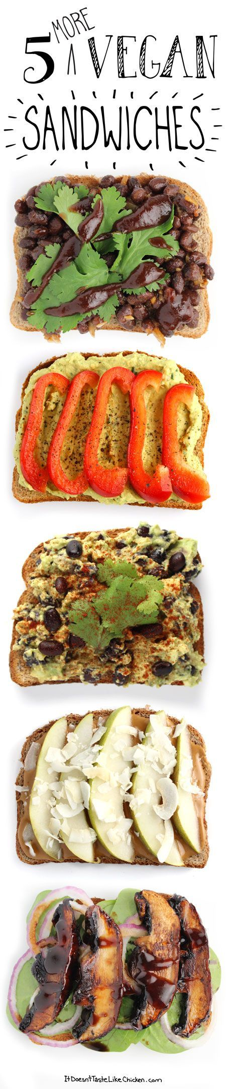 Sandwich Recipes: BBQ black bean, cilantro hummus & peppers, Mexican avocado, PB pear & coconut, Asian portobello