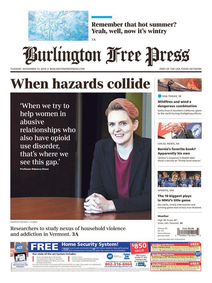 Today's Burlington Free Press @bfp_news www
