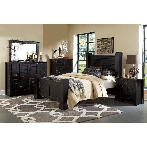 Black 4 Piece King Bedroom Set - Trestlewood | Bedroom Decoration ...
