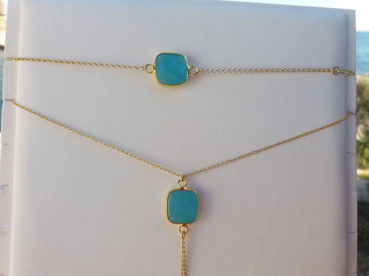 Turquoise bracelet, turquoise set, quartz bracelet, gold filled bracelet, semiprecious stones, quartz set, bridesmaid gift, anniversary gift by JewelryFamousWorld on Etsy