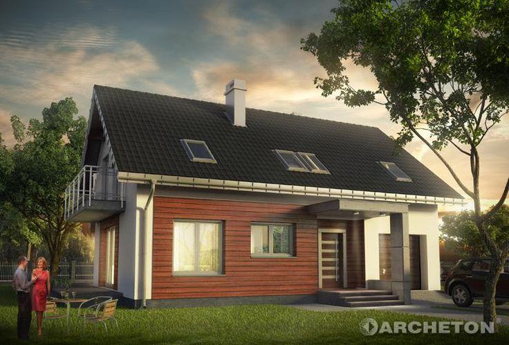 Projekt domu Omega - atrakcyjny dom na krótką działkę, o prostej bryle i z nowoczesnymi detalami