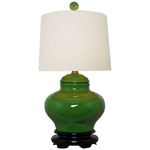 "Porcelain 16 1/2"" high Jar Apple Green Accent Table Lamp"