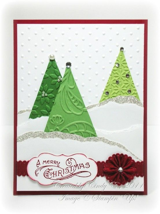 Christmas Cards by pilar laguna....genius! Using the polka dot embossing to look like snow!