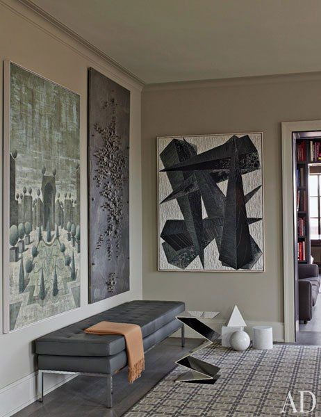 art ('70's metal-studded work from galerie camoin demarchy; abstract canvas '50's french ) + vintage knoll bench / nyc