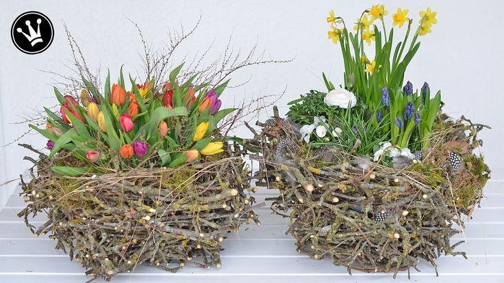DIY - Frühlingsdeko  selber machen I XXL-Nest aus Zweigen I Deko mit Frü...