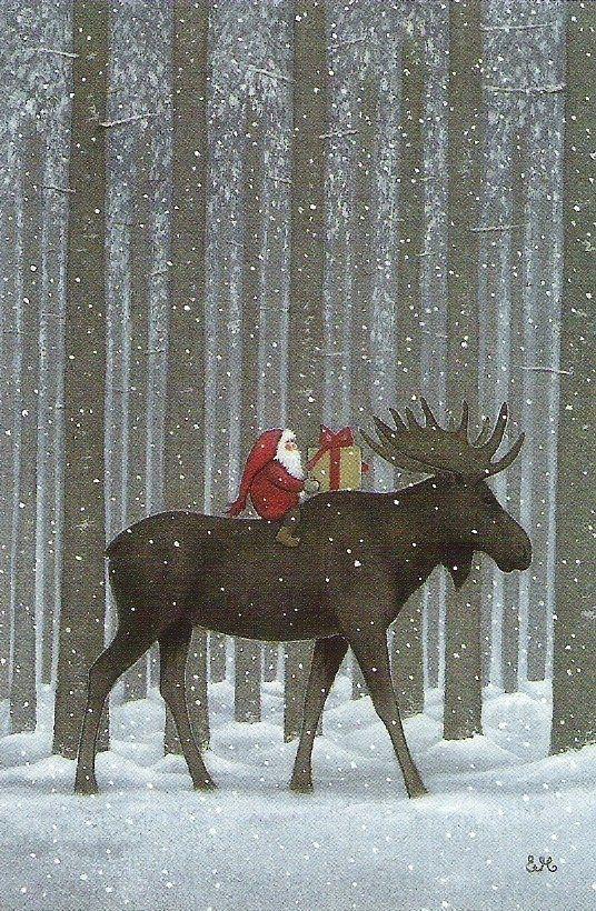 Новый год. Дед Морозы и олень.