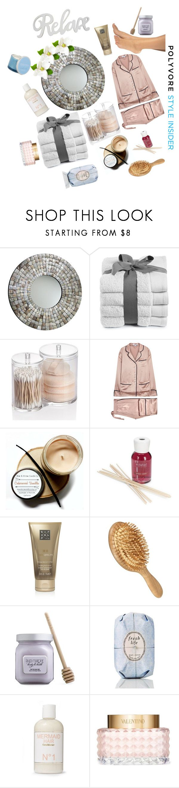 """""""#bath #time #relax #blue #cream #for #you #lady #lazy"""" by infodina ❤ liked on Polyvore featuring Cyan Design, Olivia von Halle, Millefiori, Rituals, Laura Mercier, Fresh, Liberty, Valentino and Modern Alchemy"""
