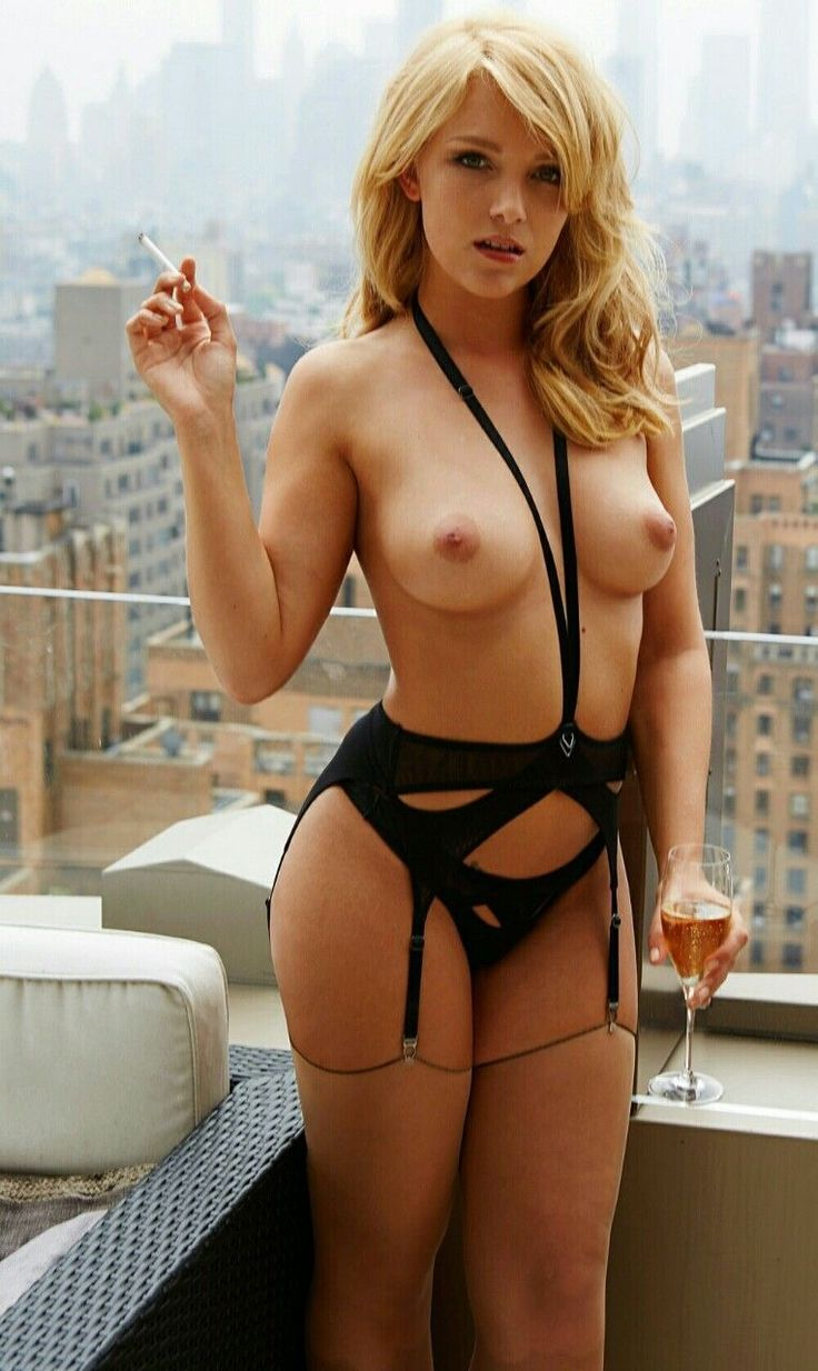 Topless Girl In Sexy Lingerie Smoking & Drinking