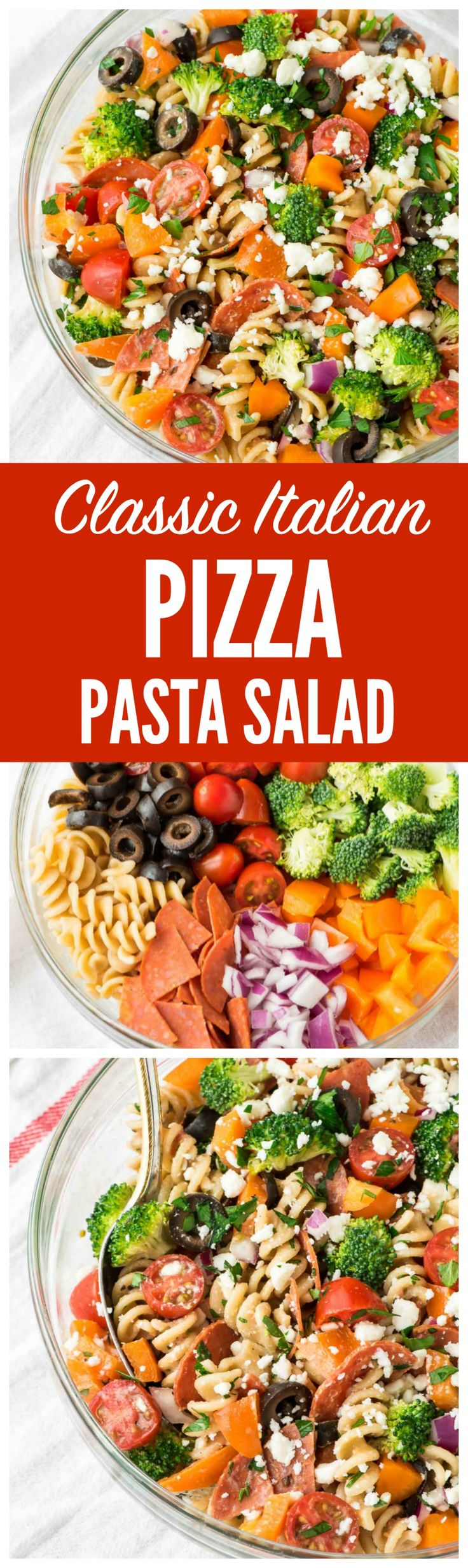 This Pizza Pasta Salad is the PERFECT pasta salad recipe. A fresh twist on classic Italian pasta salad made with real, simple ingredients, crunchy veggies, and lots of pepperoni and cheese. Everyone loves it and there are never any leftovers! Recipe via www.wellplated.com @wellplated