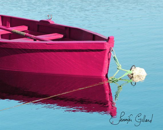 pink boat decorboat art beach artcottage by DreamsandNotions