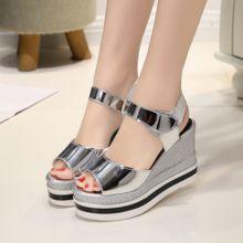 Women Shoes Summer 2016 nueva punta abierta Fish Head moda tacones altos sandalias de cuña #SJL250(China (Mainland))