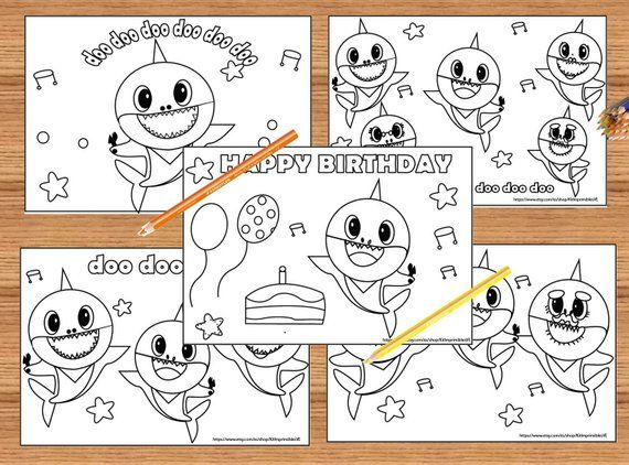Baby Shark Happy Birthday Coloring Pages - Worksheetpedia