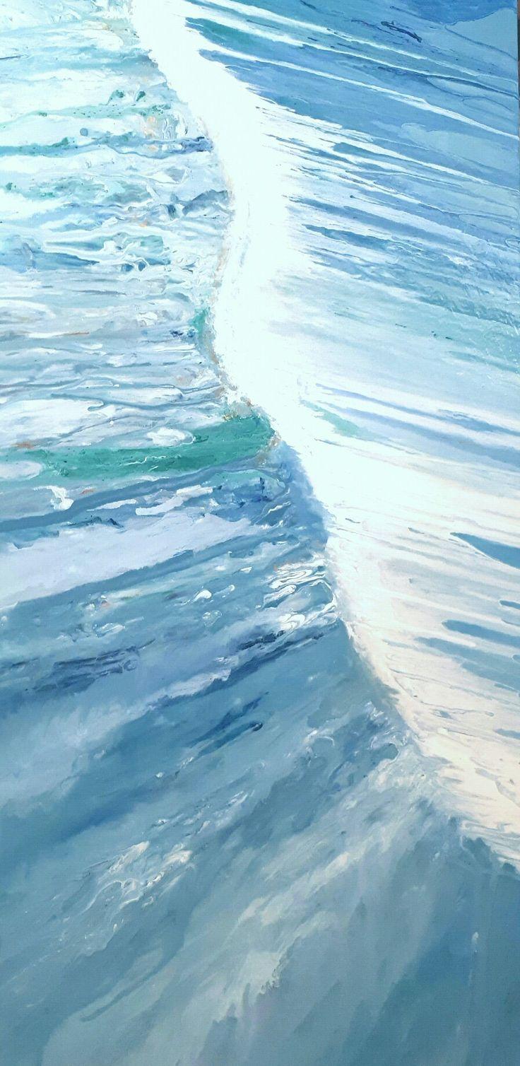 MELVILLE ART: Blue Waterfall Painting on canvas. Original Fluid Abstract Artwork.