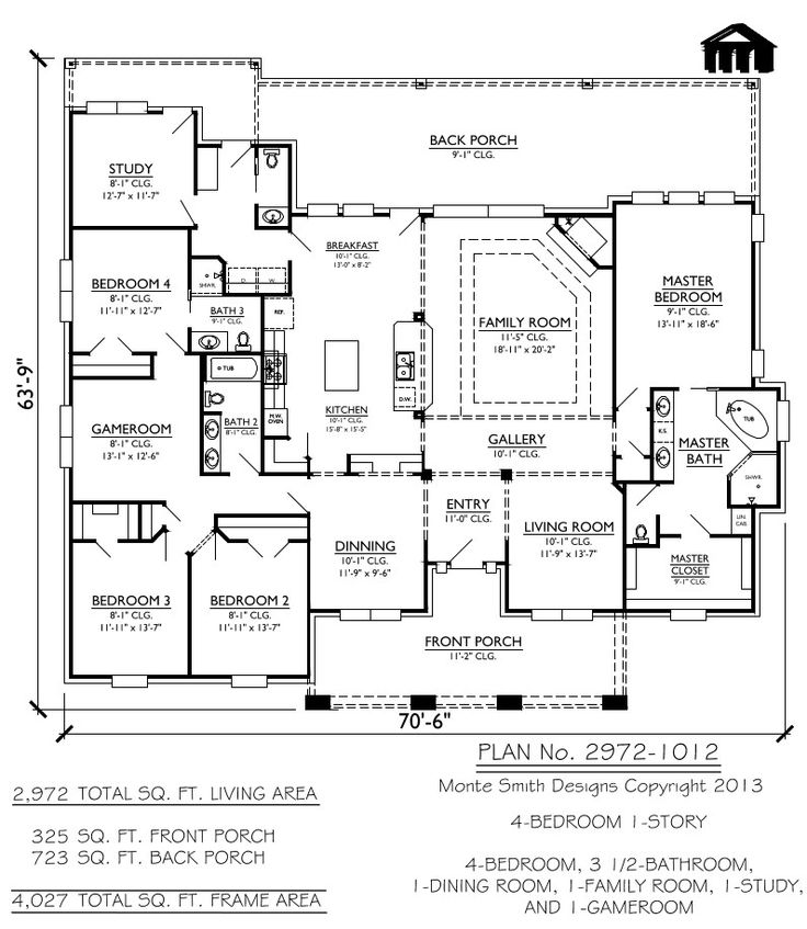 Caribbean House Plans Affordable 3 Bedrooms 2 Baths: 1 Story, 4 Bedroom, 3.5 Bathroom, 1 Dining Room, 1