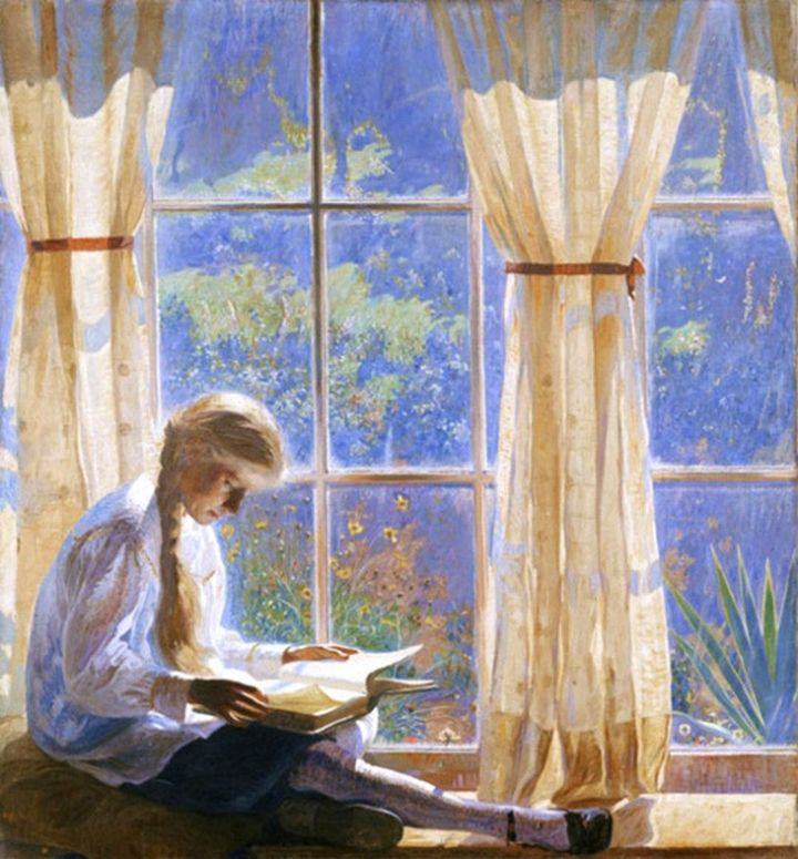 Image result for woman parting curtain painting