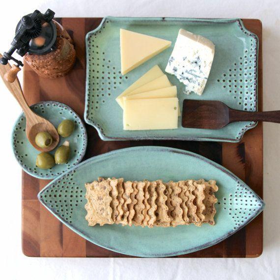 Teardrop Platter with Dot Design - Aqua Mist - Contemporary Dinnerware Home Decor - Ready to Ship