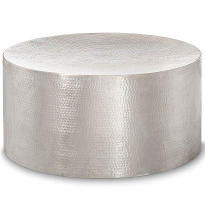 Hammered silver barrell coffee table - Threshold, Target. Comes in Gold and Copper, also.