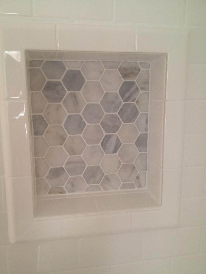 Hexagonal Niche Back With White Wall Tile Bathroom In